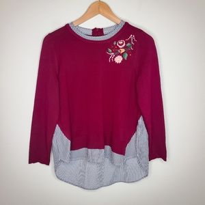 Crown & Ivy Burgundy Embroidered Shirt Sweater